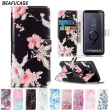 Marble PU Leather Case For Samsung Galaxy S9 Flip Wallet Cover For Samsung S9 Plus Case Flip Stand Holder With Card Slot