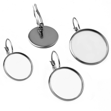 10pcs ( No Fade ) 8mm-25mm Stainless Steel French Lever Back Earrings Blank/Base,Fit 8mm-25mm Glass Cabochons,Buttons