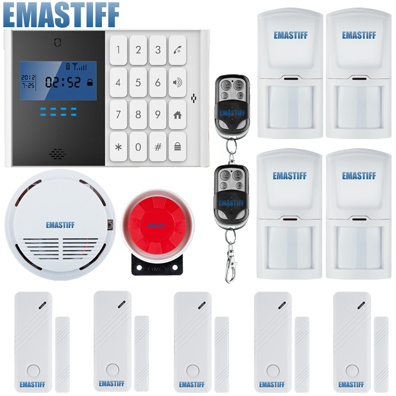 DHL Free Shipping!Wholesale - Wireless 433MHZ GSM SMS Home Burglar Security Alarm System Detector Sensor Kit Remote Control gsm lcd wireless 433 smart burglar security alarm system detector sensor kit remote control auto dial sms outdoor siren