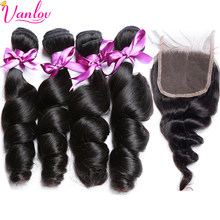 Vanlov Hair Loose Wave Bundles With Closure Malaysian Human Hair Weave Bundles With Lace Closure Hair Extension Non Remy Cheveux(China)
