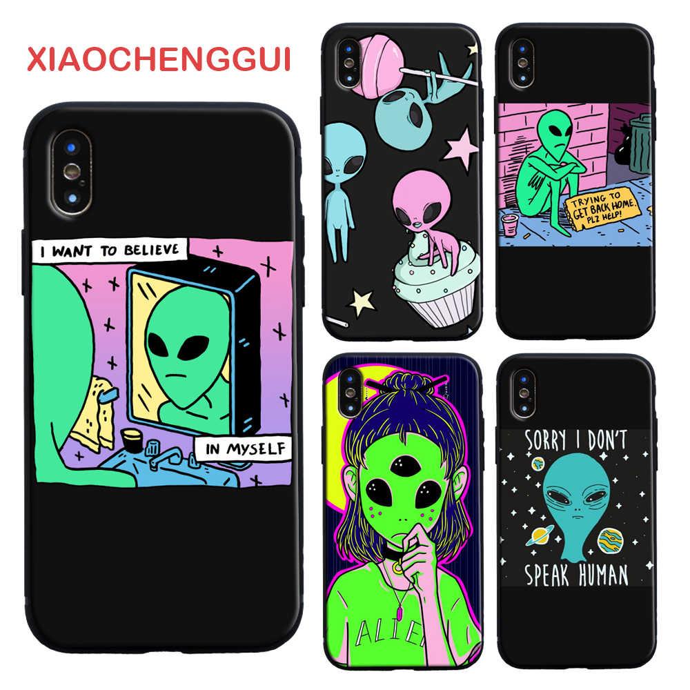 Ästhetik Nette Cartoon alien raum Weichen Silikon Telefon Fall Abdeckung Shell Für iPhone 5 6 6s 7 8 Plus X XR XS MAX 11 pro max fall
