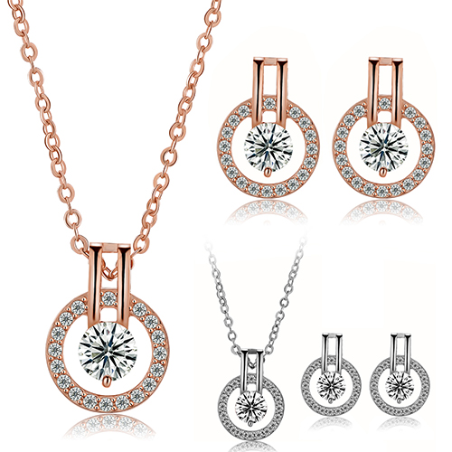 New Arrival Women's Zircon Round Pendent Choker Chain Necklace Earrings Wedding Jewelry Set Fashion Leader' Choice 2