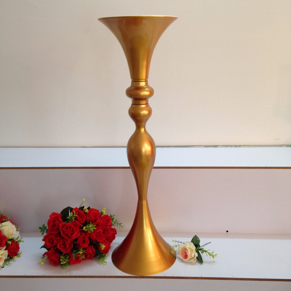 Wedding Flower Vases Wholesale: Free Shipping Wholesale Wedding Supplies Gold Trumpet
