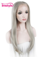 Imstyle Straight Synthetic Grey 24 Inches long lace front cosplay wigs