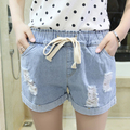 Summer supersize han edition fashion show thin jeans children draw string hole in short pants fat mm wave hot pants