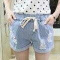 Supersize de verão edição han fashion show fina jeans crianças desenhar corda buraco na calças curtas calças mm de gordura onda quente