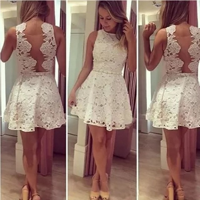 White Lace Short Cocktail Dresses 2017 Scoop Draped Backless Pearls Sash  Sexy Graduation Girls Party Dresses robe de cocktail 5a1cab0e2