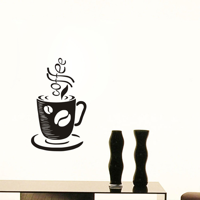 Coffee Cup Vinyl Wall Sticker Diy Cafe Decal Nursery Removable Wallpaper Boys