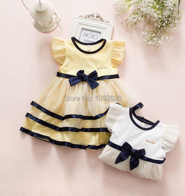 Inglaterra estilo de algodão sem mangas crianças bebê girls dress 2015 camada vestidos de festa da princesa do bebê roupas de verão 2 cor 0-2 anos