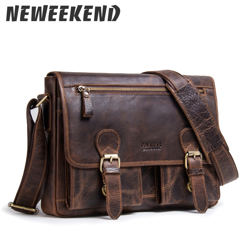 Men Genuine Leather Messenger Bags Designer Brand Vintage Crossbody Bags Laptop Bags Retro Handbags Satchel Shoulder Bags MB092 цены онлайн