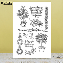 AZSG Potted Plant Peace Dove Olive Branch Clear Stamps For DIY Scrapbooking/Card Making/Album Decorative Silicone Stamp Crafts