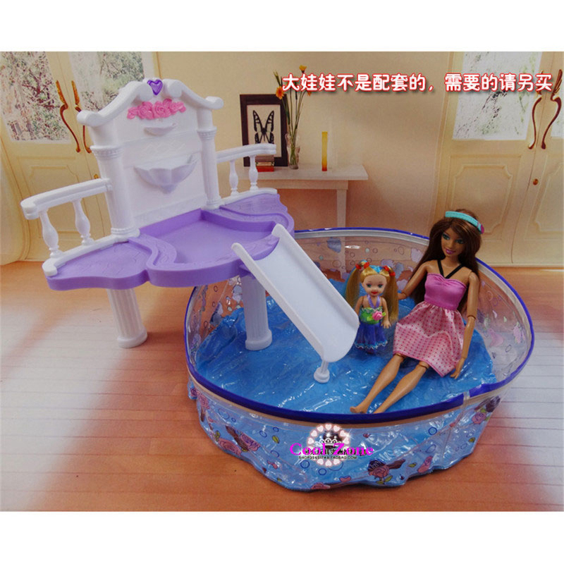 New arrival miniature furniture summer swimming pool for barbie doll house classic toys for girl for Barbie doll house with swimming pool