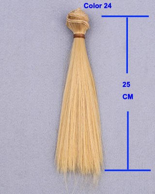 1pcs 25cm length long straight hair natrual blue green purple yellow color thick 1/3 /1/4 1/6 bjd wigs doll hair
