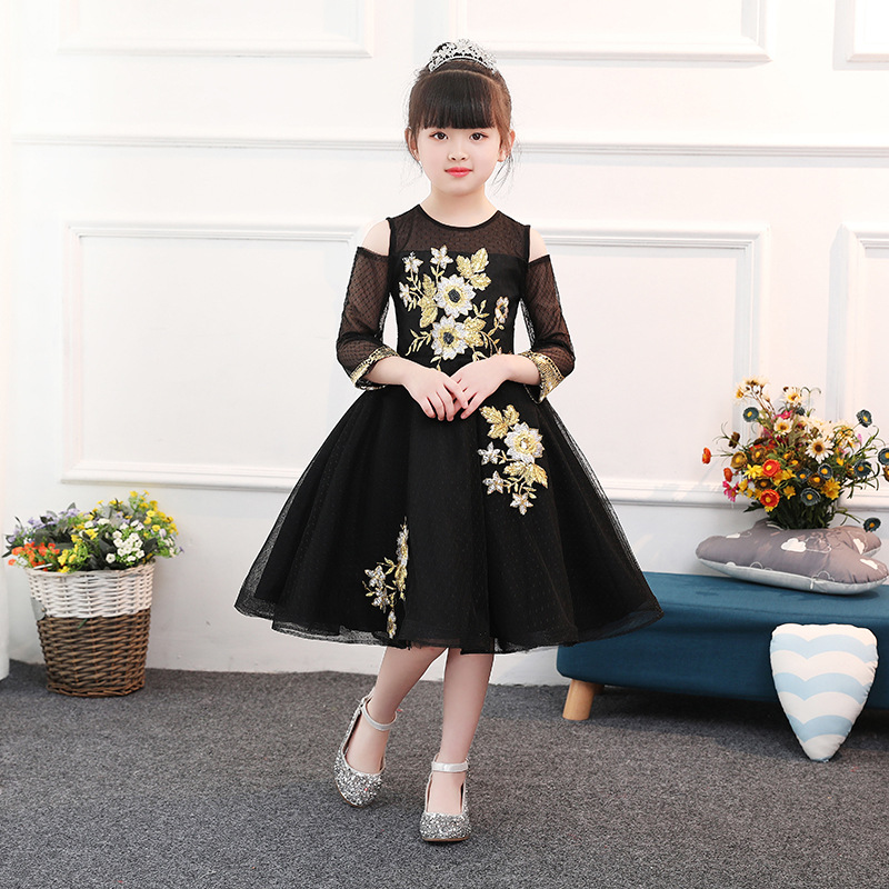 Gorgeous Exquisite Black Gold Wire Embroidery Flower Girl Dresses Kids Knee Length Pageant Birthday Holy Dress