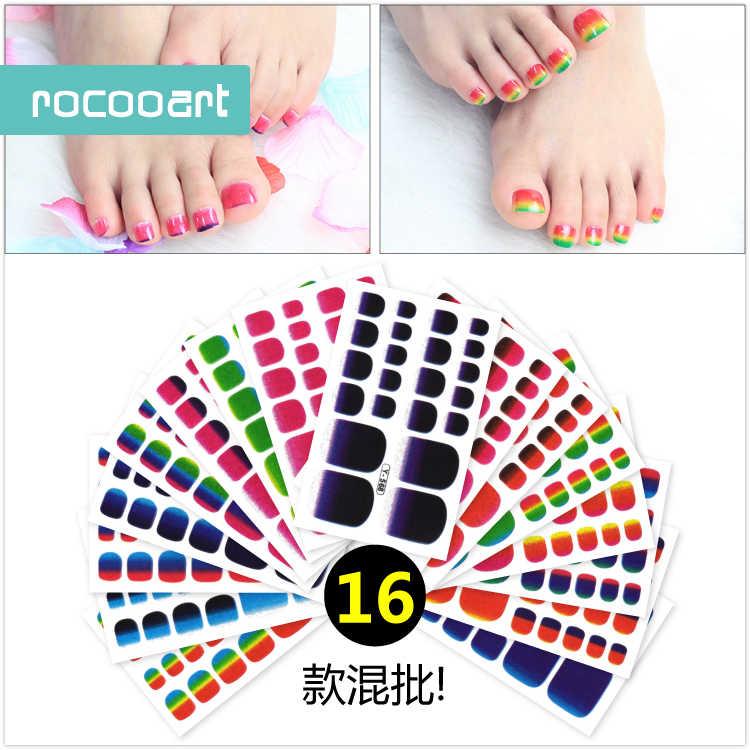 Rocooart Nuove Donne di Modo Punta Unghie artistiche Adesivo Colorato Adesivo nail Sticker Nail Wraps Per Le Unghie Dei Piedi Manicure Adesivi Stagnola Del Chiodo
