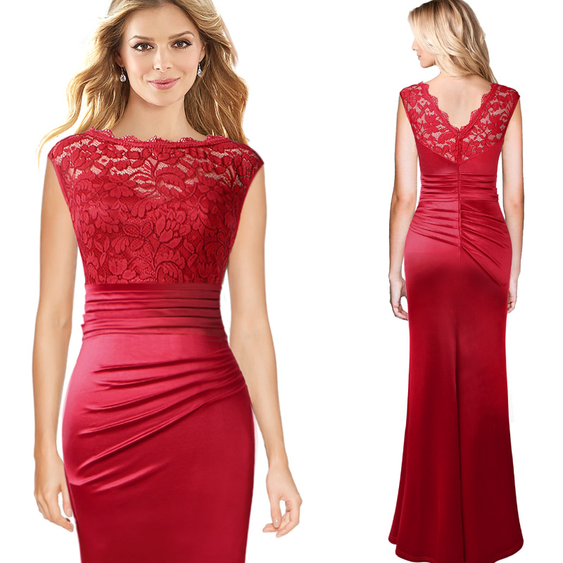 516c9d278a US $23.49 |Vfemage Womens Floral Lace Ruched Pleated Cap Sleeves Formal  Evening Gowns Wedding Party Mother of Bride Mermaid Maxi Dress 256-in  Dresses ...