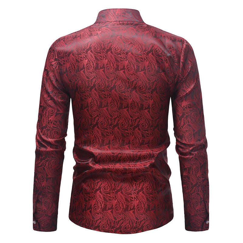 ブランドワイン赤ペイズリー花箔プリントシャツ男性スリムフィット長袖メンズドレスシャツカジュアルな結婚式のパーティーヘンリーシャツ男性