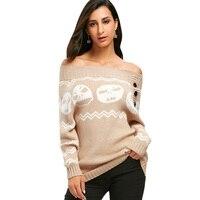 Kenancy Skull Off The Shoulder Tunic Sweater Women Slash neck Long Sleeve Skulls Sweater