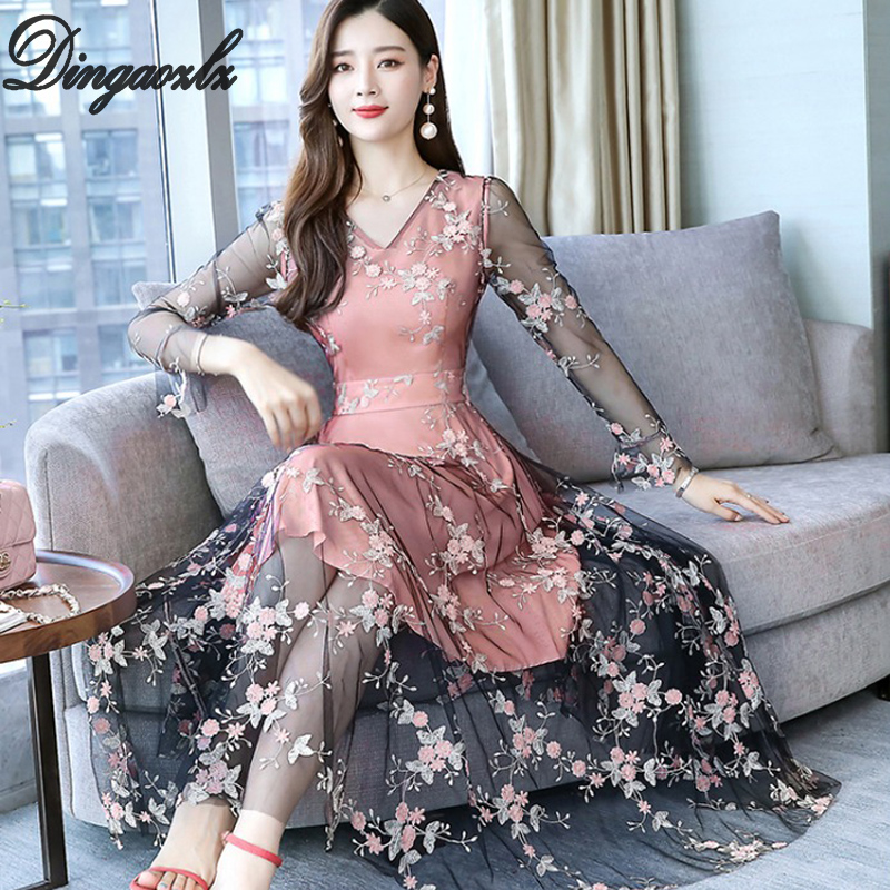 Dingaozlz Elegant embroidered Mesh dress Autumn 2019 New fashion Slim Long dress Plus size Casual Lace dress in Dresses from Women 39 s Clothing