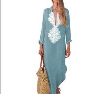 Summer Women Dress Clothes Boho Long Maxi Dress Long Sleeve V-neck Loose Ladies Party Summer Beach Sundress Casual Clothing