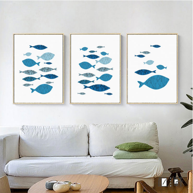 Nordic Minimalist Abstract Style Fish Animal Poster Canvas Wall Kids Room Home Decoration Combined YYEOLL