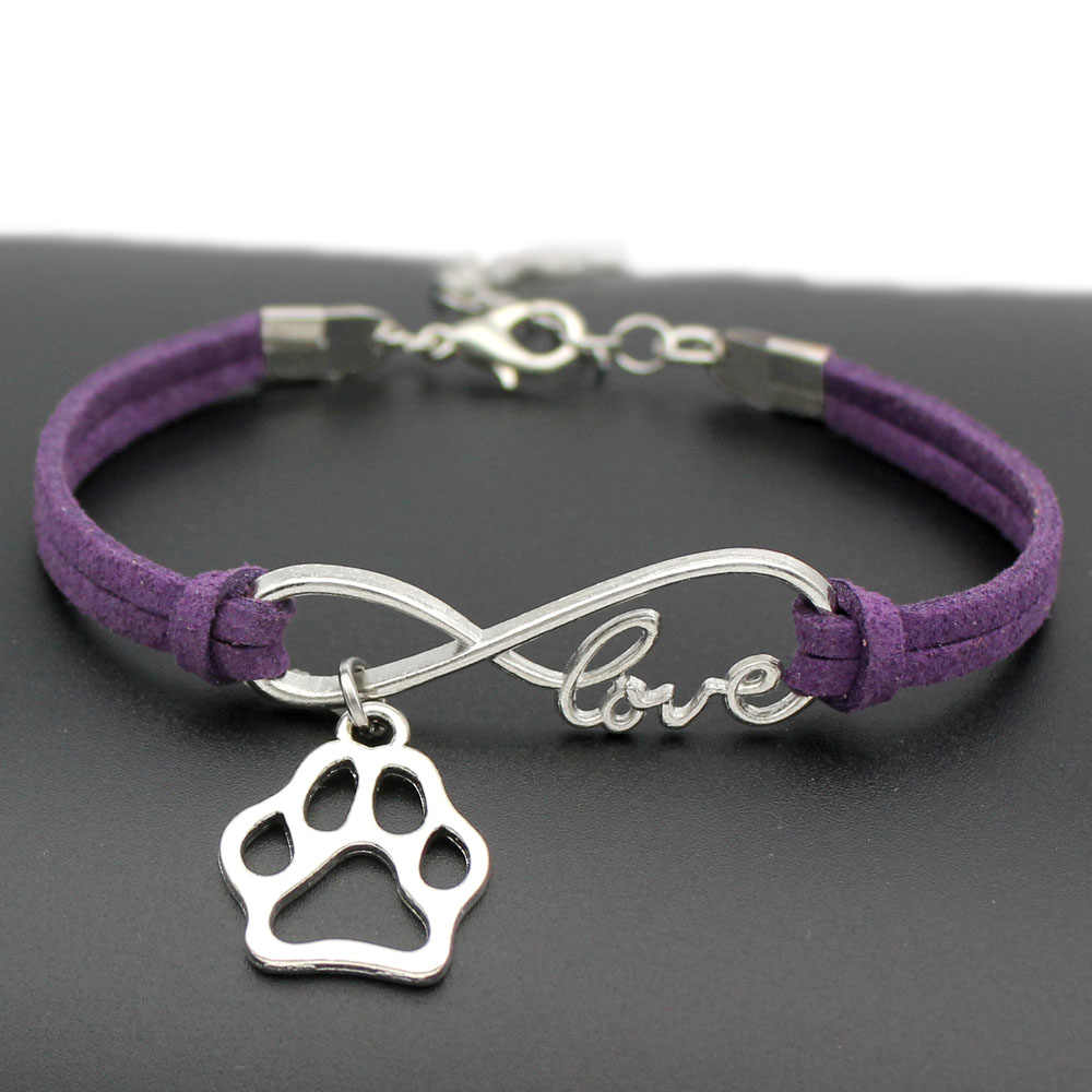 1pcs infinity handmade Women Stylish  Love Pets Dogs Lover Cat Animal Bear Paw Charms Pendant Bracelet Friendship Gift 7443