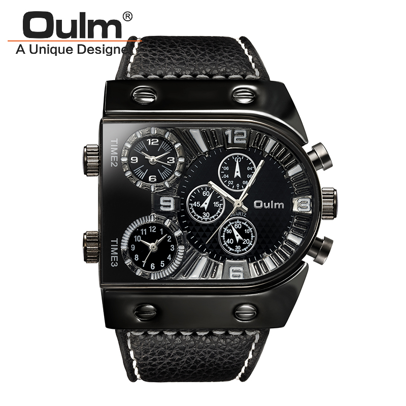 Oulm Men Casual Leather Strap Quartz Watches Mens Top Brand Luxury Military Wristwatch Multiple Time Zone Watch relojes hombre top brand luxury oulm 2 time zone men watches military sports quartz watch 2017 men rose golden case relogio masculino box