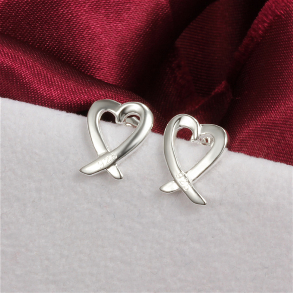 Free shipping Fashion High Quality 925 Plating Silver Earrings Personalized  Heart Earrings Jewelry wholesale Hot Selling faf903d53