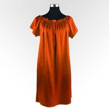 Шелковая ночная рубашка натуральный шелк Шармез атласный шелк летний Стиль Женская ночная рубашка размера плюс женская одежда обхват груди 115 см
