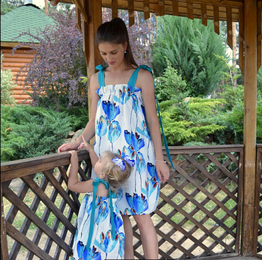 Mother Daughter Dress Knee-length Blue Floral Print Sling Dress Sexy Sleeveless Mini Dre ...