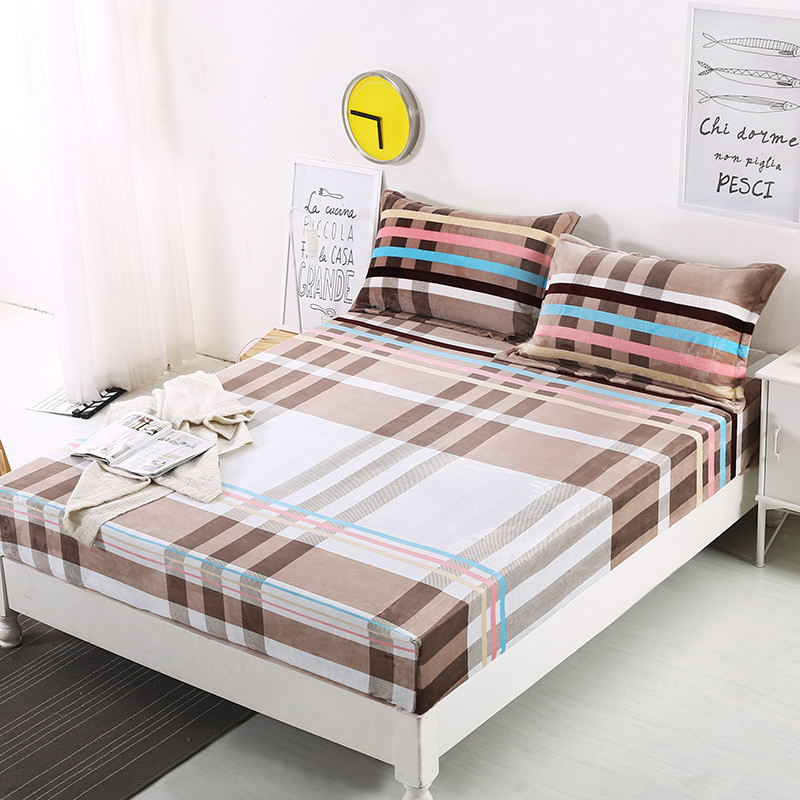 1 Piece Flannel Fitted Sheet Mattress Cover 160cm*200cm Plaid Warm Bed  Cover Twill Bed Sheets Linens For Autumn Winter XF313J6 In Sheet From Home  U0026 Garden ...