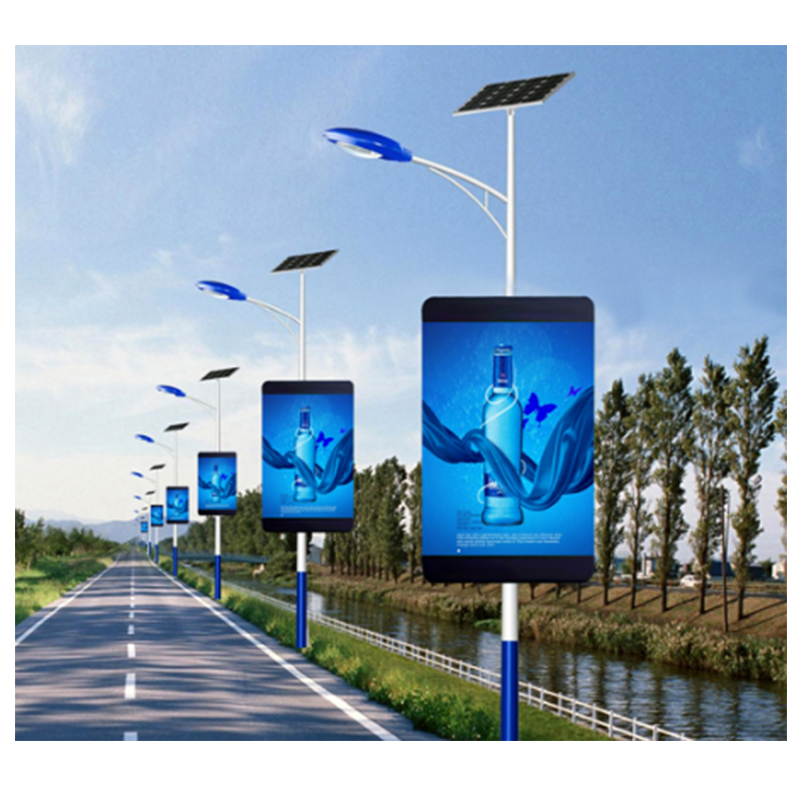 P4.8 Outdoor Full Color Smd Street Video Advertising Led Screen 3G/ 4G/ Wifi Wireless Control Light Pole Led Display