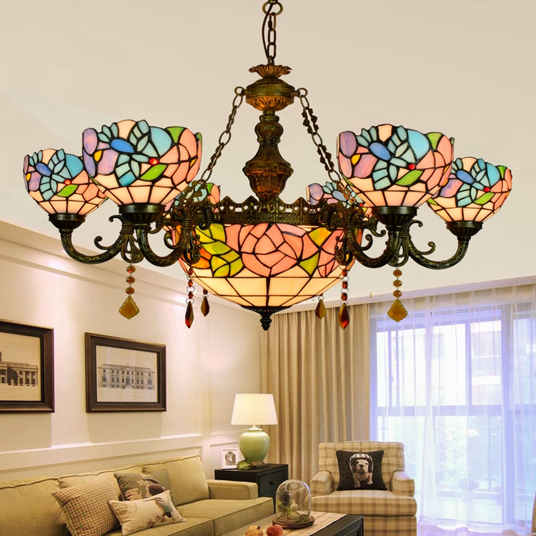 Tiffany Baroque Flesh flower Stained Glass Suspended Luminaire E27 110 240V Chain Pendant lights for Home Parlor Dining Room - 2