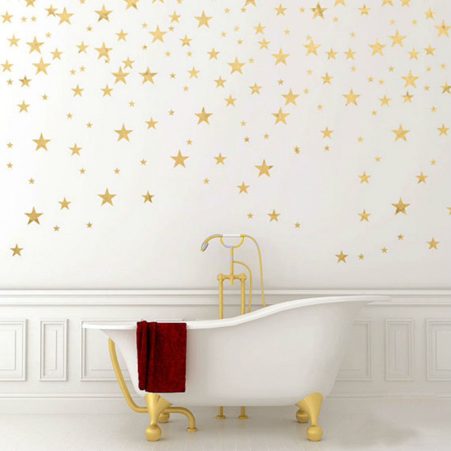 130pieces/package Stars Wall Sticker Art Gold Star Decals Removable Confetti Stars Living Room Baby Nursery Decor Wall Stickers