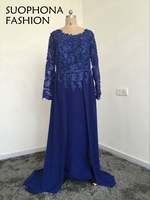 New Arrival Vestido Longo High Neck Royal Blue Long Sleeve Evening Dress Kaftan Saudi Arabic Evening