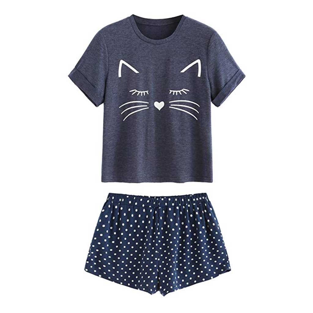 Pyjamas Women New Fashion Women's Casual Cat Shorts Short Sleeve Ruffled T-Shirt Sleepwear Nightwear Set Summer Sleepwear