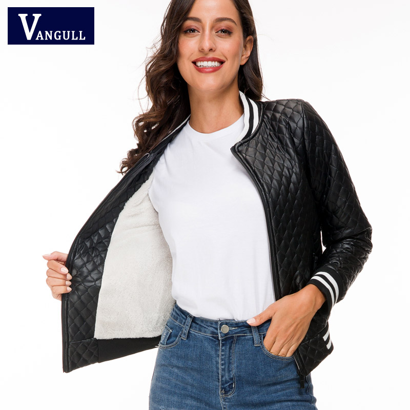 Winter   Leather   Parkas Vangull 2019 New Female Warm jacket Short Design Cotton Coat Women's Jackets PU   Leather   Padded Women Slim