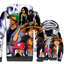 Anime One Piece 3D Hoodie Men The Straw Hat Pirates Luffy Sweatshirt Winter Thick Fleece Harajuku Jacket Pirate King Coat