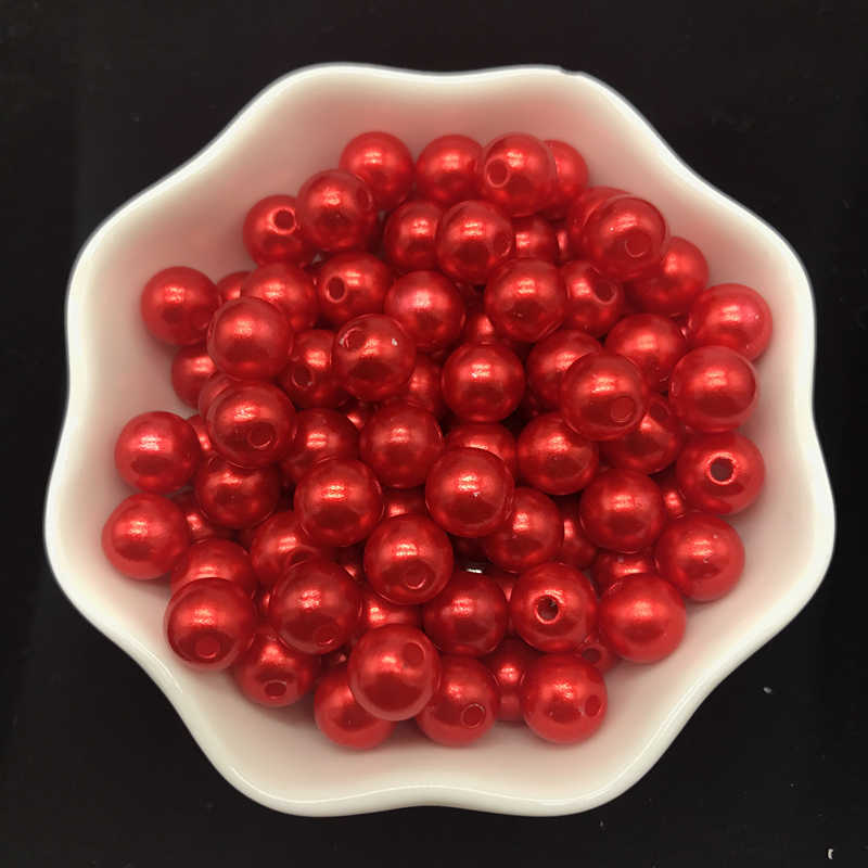 4mm 6mm 8mm 10mm Red Imitation Pearls Acrylic Beads Round Pearl Spacer Loose Beads For Jewelry Making