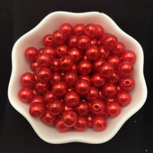 4mm 6mm 8mm 10mm vermelho imitação pérolas acrílico grânulos redondos espaçador pérola solta grânulos para fazer jóias