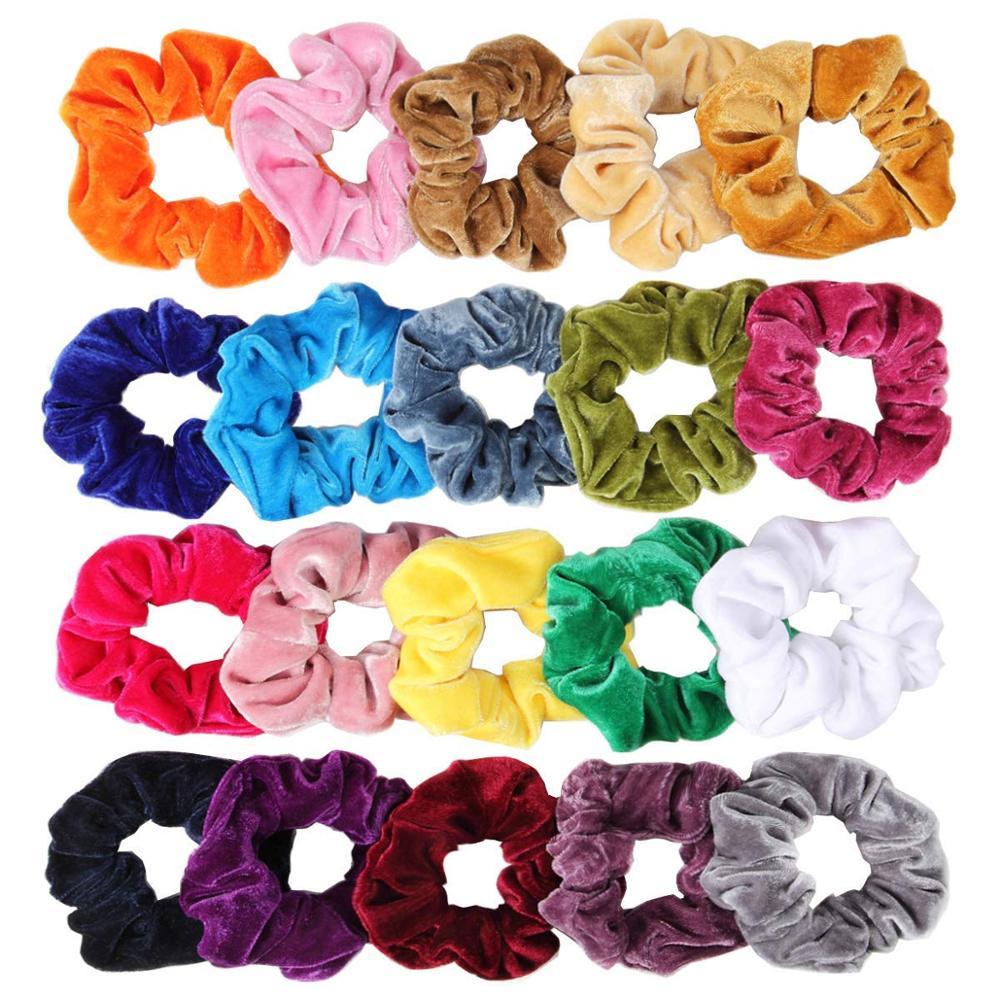 Chouchous en velours 20 paquets de gros chouchous colorés pour cheveux grandes cravates en velours bandes de Bobble Scrunchy