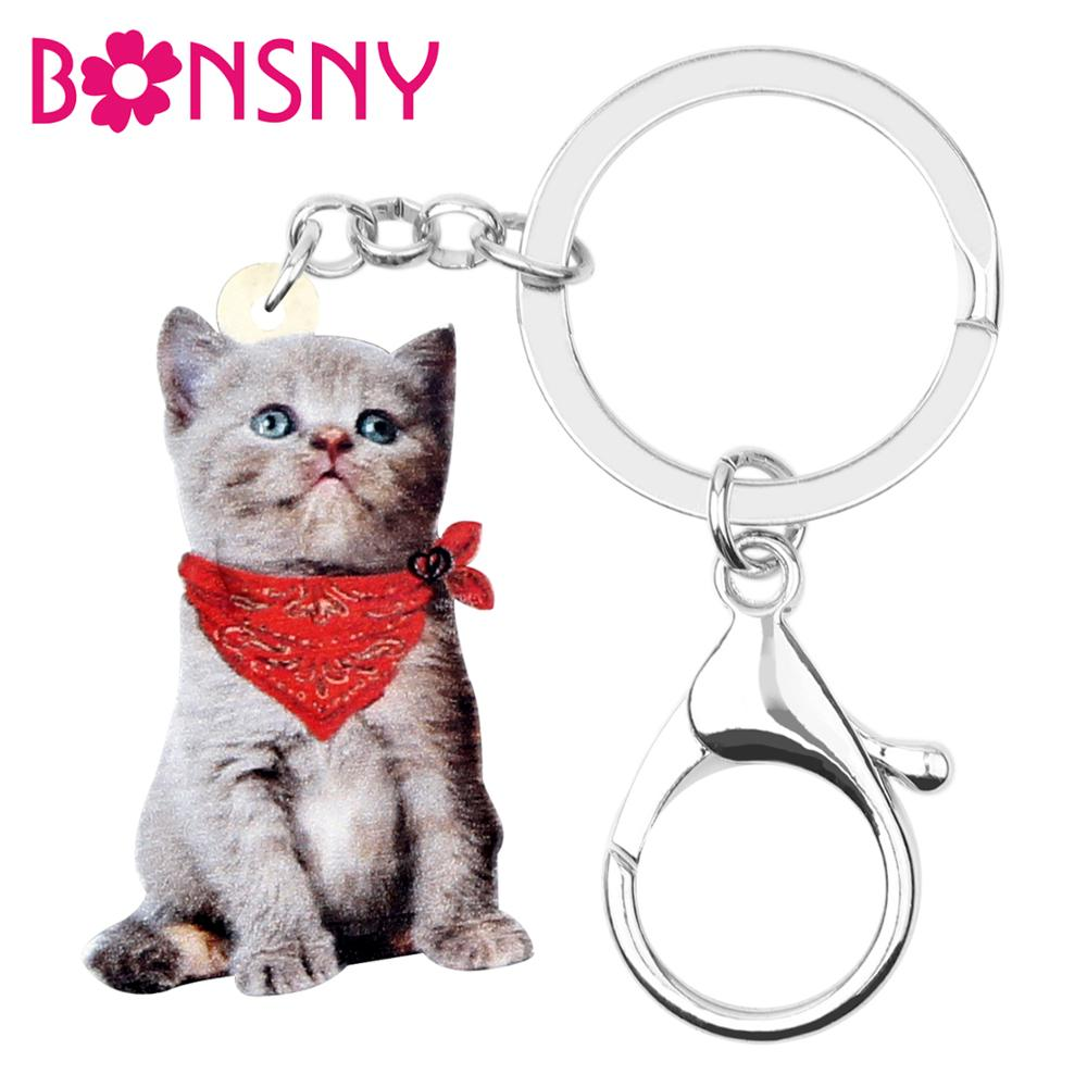 Bonsny Acrylic Red Scarf Kitten Cat Keychain Keyrings Fashion Design Animal Pet Jewelry For Women Girls Charms Lots Decoration
