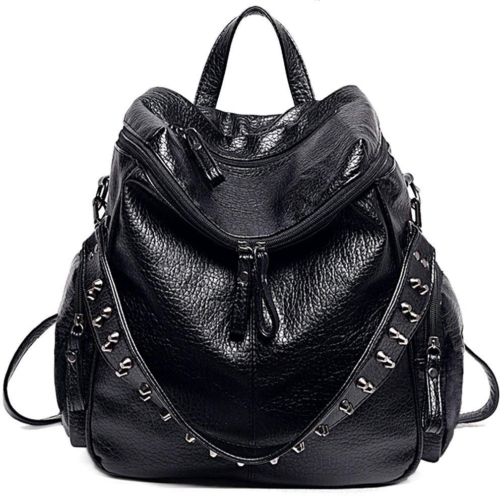 Women Backpack Purse 3 Ways PU Washed Leather Rivet Studded Ladies Rucksack Shoulder Bag