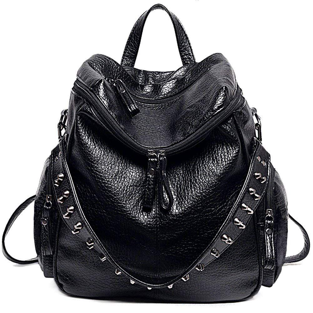 Women Backpack Purse 3 Ways PU Washed Leather Rivet Studded Ladies Rucksack Shoulder Bag
