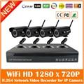 H.264 Nvr 4ch Видеонаблюдения Системы видеонаблюдения Комплекты С 4 шт. Wifi Беспроводной 720 P Пуля Водонепроницаемый P2p Ip-камеры набор Горячая