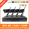 H.264 Nvr 4ch Security Surveillance Cctv System Kits With 4pcs Wifi Wireless 720p Bullet Waterproof P2p Ip Cameras Set Hot