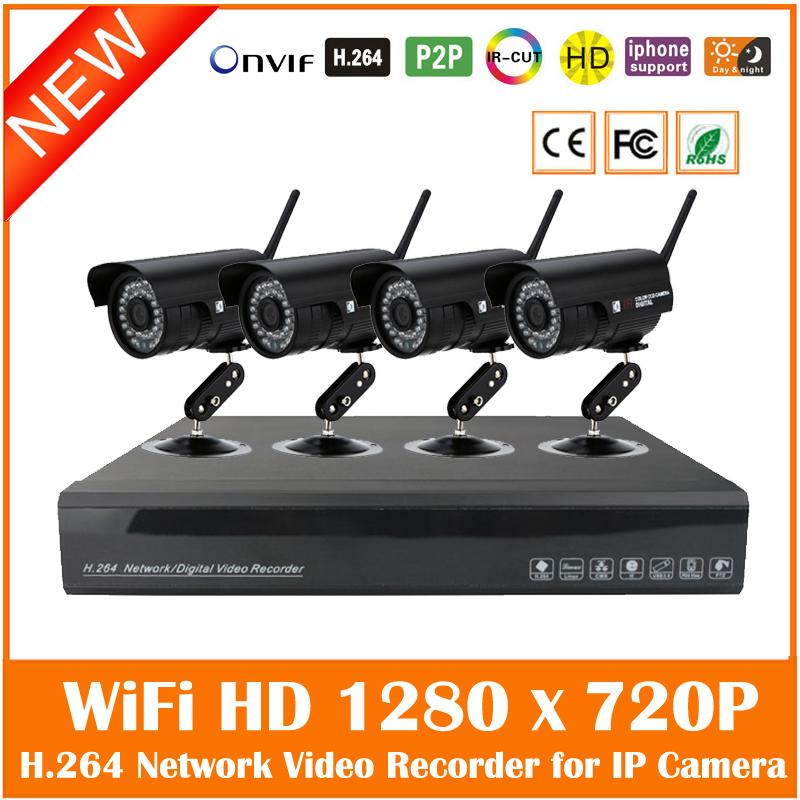 H.264 Nvr 4ch Security Surveillance Cctv System Kits With 4pcs Wifi Wireless 720p Bullet Waterproof P2p Ip Cameras Set Hot image
