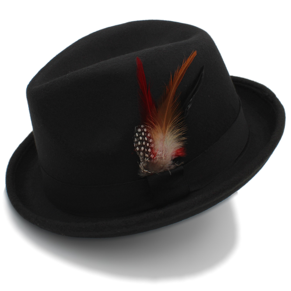 Autumn Winter 100/% Wool Wide Brim Felt Trilby Fedora Hat for Womem Men Cashmere Gangster Church Hat with Feather Band