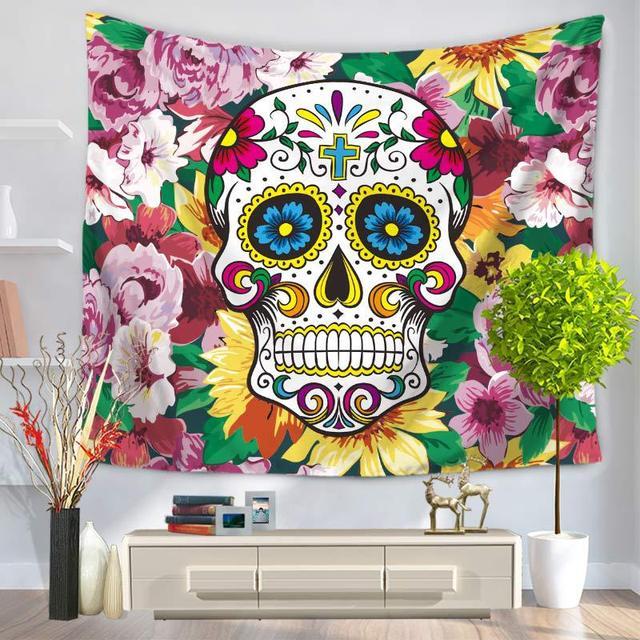 Punk Skull Art Floral Tapestry