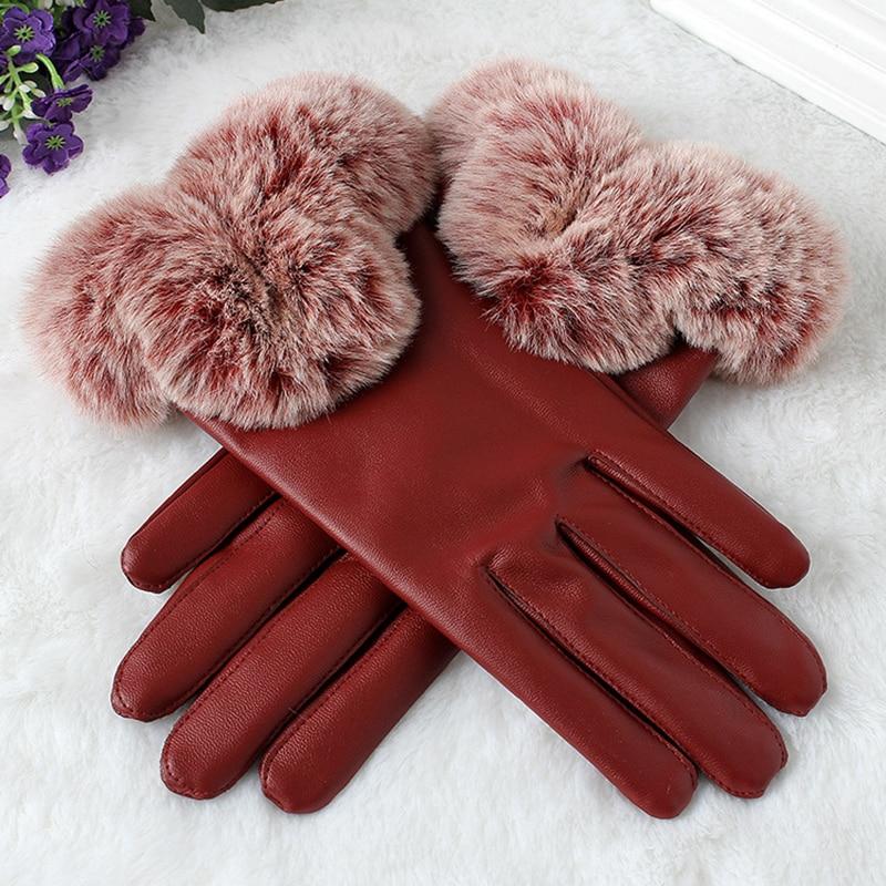 women winter gloves leather Warm wrist gloves full finger faux Rabbit Fur line fitness Gloves touch screen Female red black